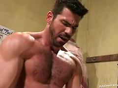 Hairy muscle man Billy Santoro fucks Shawn Wolfe's ass