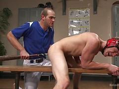 Wrestler vs Baseball Player - Loser Takes a Baseball Bat Up the Ass!