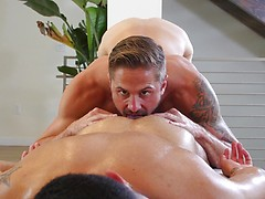 Cute Latino Bottom gets his bubble-ass eaten and fucked by horny Jock Top during an erotic massage.