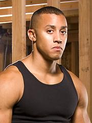 Ebony muscle stud Tyler Johnson naked by Hot House Backroom image #7