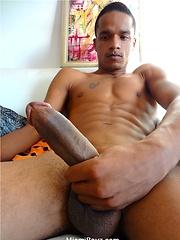 Ebony latin twink Romulo jack off his huge cock by Miami Boyz image #8