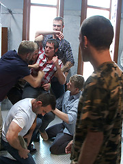 Two boys get used and abused by a gay mob in a public restroom. by Bound in Public image #7