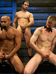 Leo Forte and Blake Daniels suffer as they receive Spencer Reed\\\\\\\'s giant cock during a live show. by Bound Gods image #7