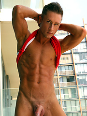 Kaleb Storm getting naked on a glass balcony and shows his perfect sixpack by Bentley Race image #4
