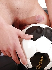 Athletic hunk Aron Ros strokes his cock on his soccer ball. by BF Collection image #7