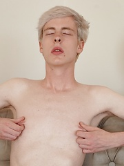 Platinum blond boy Ricky Goro stroking his nice cock. by BF Collection image #6