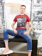 Fit and horny boy Anthony Bond strokes his mushroom tipped cock. by BF Collection image #5