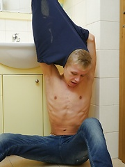 Blonde twink Chris Jansen jerks off in the bathroom. by BF Collection image #6