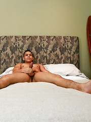 Liam plays with his uncut latino cock by Active Duty image #6