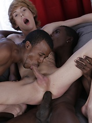 Abused: Cute Blond Twink Gets A Double-Penetration Cocktail & A Face-Load Of Black Jizz! by Staxus image #14