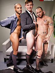 Bareback Double Penetration: Jed Athens, Drew Sumrock, and Nova Rubio by Lucas Entetainment image #11