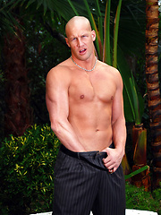 Bald hunk Christian posing outdoors by Playgirl image #5