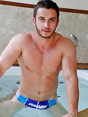 Aussie muscle boy James Nowak stroking in the hot tub by Bentley Race image #6