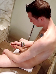 Super hung mates - Spanish twink Sergio Duque let's his giant cock out in the bath by Bentley Race image #9
