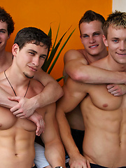 Four muscled guys fucking