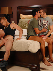 Patrick Rouge, James Jamesson, Dylan Hauser and Donny Wright in a muscle foursome