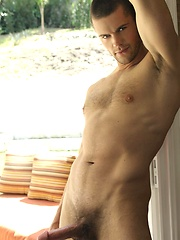 Bryan Pace has beautiful steel blue eyes, a hot hairy athletic body and a perfect cock that he loves to play with.