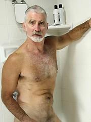 Silver daddy Paul Barbaro jerking off dick