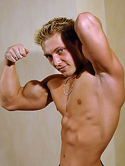 Blond bodybuilder Adrian Cole
