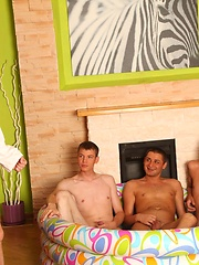 Hot foursome gay party turns into a pissing contest