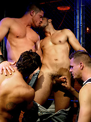 Muscle men group sex scene