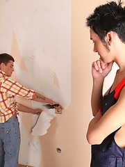 Horny teen twinks fuck each other while painting the wall