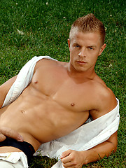 Matthew F. showing his cock and ass outdoors