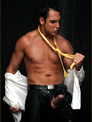 Soaking wet suit and yellow tie slowly stripped off of Marcello\\\'s hunky body