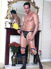 Marcello the hunk does his house cleaning in see through briefs and socks