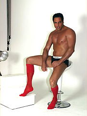 Marcello modelling for a sexy sock shoot in milan