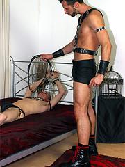 Gay bondage slut takes a cock in his mouth then recieves a horny footjob