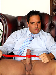 Marcello wraps his cock in some used socks and wanks hard