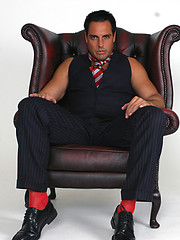 Hunky Marcello spreads his legs open and plays with his big cock