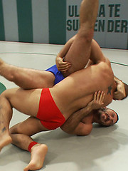 Smooth muscle stud Leo Forte fights and fucks hairy muscle stud Alessio Romero.