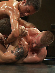 Four hot studs in a testosterone fueled tag team match in front of a live audience. Who will win and who will gave their hole pounded into oblivion?
