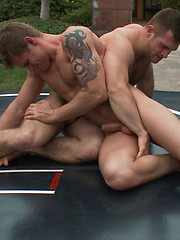 A chiseled, big-dicked stud takes on a big, beefy man\\\'s man in an uber-agressive match that ends in a passionate suck and fuck you will not forget.