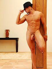 Hot muscled man Cody jerking off dick