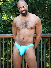 Black mature man Jaguar naked outdoors