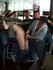 Two hairy sluts get abused in a bar full of horny strangers.