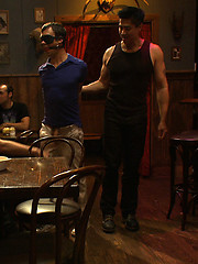 Sexy as hell studs Christian Wilde and Cole Streets blow their huge loads on a tied up boy\\\'s face at a local bar.