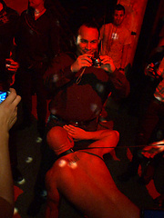 Patrick Rouge gets used and humiliated in front of a hundred horny men at the Bound In Public Launch Party.
