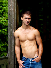 Muscle stud posing naked outdoors