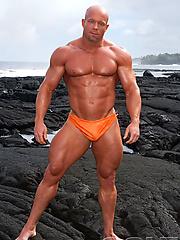 Luke Garrett posing naked outdoors