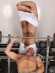 Hairy muscle hunks fucking in a gym