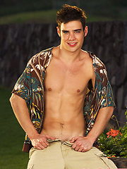 Hot young stud Zack Randall stripping outdoors