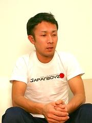 Straight Japanese guy Hiroshi jerking off and cumming