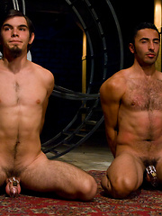 Josh West fucks Dylan Deap and Gianni Luca with his huge cock during a live show.