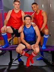 Three boys fucking in a locker room