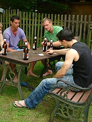 Five hot boys fucking outdoors.