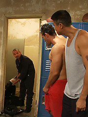 Handyman with a big cock gets tied up and used by horny dudes in the locker room.